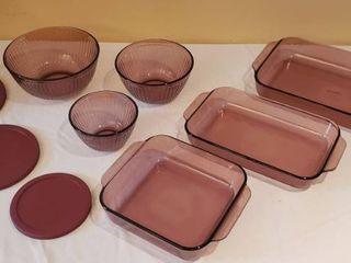 Cranberry Vision Pyrex Cookware   9 pieces