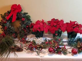 Christmas Wreath  Greenery  Garland  lights and Potted Poinsettias
