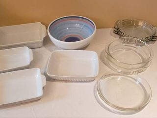 4 Ceramic Casserole Ovenware  various Makers  large Ceramic Mixing Bowl  4 Pyrex Pie Cake Pans  and 3 Anchor Hocking Pie Pans