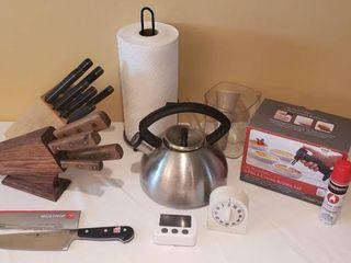 Kitchen Knives  Paper Towel Holder  Timers  Tea Pot  Skimmer Measuring Cup  and 5 piece Creme Brulee Set w  extra butane fuel