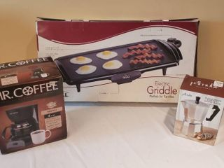 Mr  Coffee 4 Cup Coffee Maker  Rival Electric Griddle and 6 Cup Espresso Coffee Maker