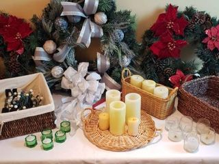 Christmas Wreathes  Hangers  lights  Candles and Baskets