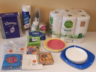 Kitchen Disposables   Kleenex  Paper Towels  Napkins  Plates  Cups  and Forks