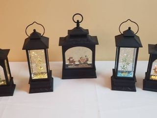 5 Christmas lantern Snow globes   Battery Operated  1needs batteries