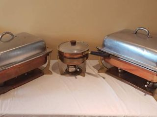 Copper   Brass 2 Full Size line Pan Chafing Pans and 1 Skillet Type Chafing pan
