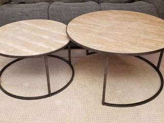 Travertine Stone Top Nesting Round Tables w Metal Frame   lg  Table  36 x 20 in    Sm  Table  30 x 18 in