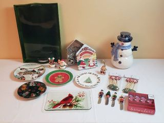 Christmas Kitchen Decor   Cookie Cutters  Plates  Cheese Butter Knives  Swizzle Sticks  and Snowman Cookie Jar