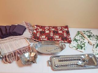 Placemat  Runner  Napkin sets and Pewter Serving Pieces