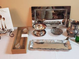 Pewter   Silverplated Serving Items