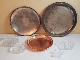 large Silver Plated Platters  Copper Platter  and Crystal Serving Dishes