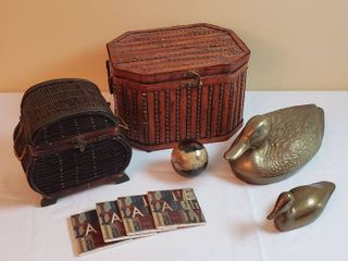 Wood   Wicker Boxes  Brass Ducks  and Coasters