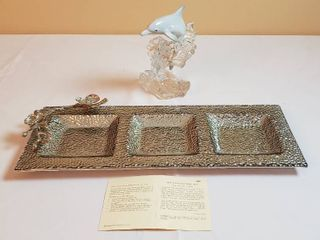 lenox 1995 Crystal Dolphin and White Orchid Glass Trio Platter  metallic look