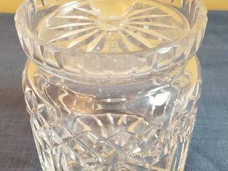 Waterford Crystal   lismore Patten Biscuit Barrel w lid   7 in  tall   4 5 in diameter