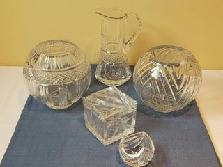 2 large Crystal Globe Vases  Crystal Pitcher  Crystal lidded Box  Small Crystal Vase and 2 boxes of Gorham Crystal Napkin Rings