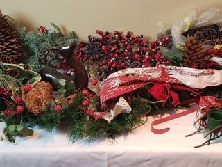 2 Hanging Christmas Swags  Ceramic Deer  cracked  Candleholders  and Bag of Pine Cones   tote included