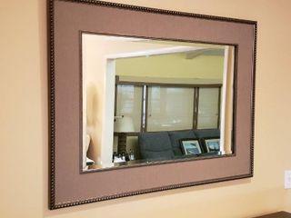 large Framed Beveled Mirror   46 x 34 in