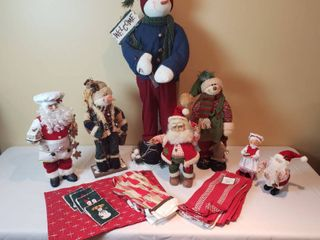 Holiday Snowman  Santa  and Mrs  Claus Decor w  Kitchen linens   includes Tote