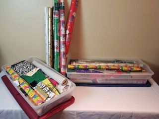 2 Totes of Holiday Wrapping Paper and Bags
