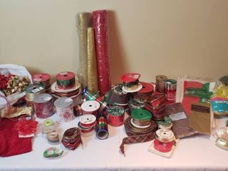 Holiday Wrapping   Decorative Ribbon  Tissue  and Bows   includes Tote