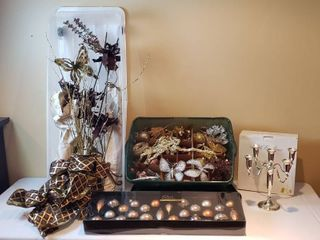 Brown and Gold Holiday Decor  Ornaments and Silver Plated Candelabra   includes 2 Totes