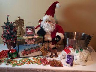Santa  Holiday Gifts Train Goody Jar 3 Pc  Set  NIB  Decorated Small Christmas Tree  large Metal Bucket  Fake Snow Flakes and Ornaments   includes Tote