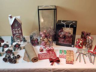 Christmas Village Decor and Ornaments   includes Tote