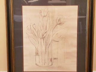 Framed Pencil Artwork Print   Tulips   27 x 32 in