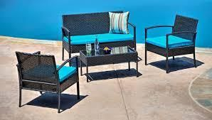 TeaSet Four Piece Patio Set with Blue Cushions Retail  499