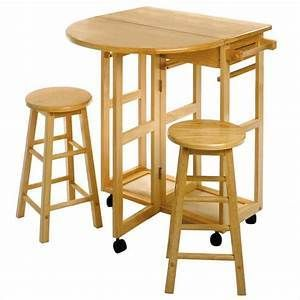 Causal Home Breakfast Cart  Drop leaf Side w  2 Stools   Natural