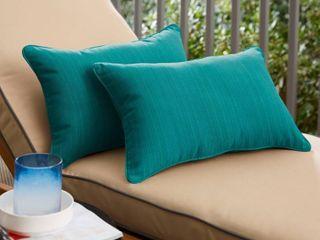 Textured Sea Blue lumbar Pillow  Set of 2