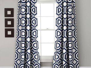 Octagon Blocks Room Darkening Window Curtain Panel Pair