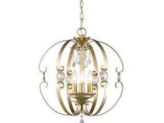 Golden lighting Ella Bronze White Gold tone Steel 3 light Pendant Chandelier