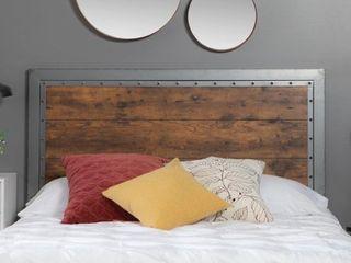 Queen Headboard   Industrial Wood and Metal