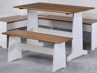 Ardmore Nook Set Wood White Natural   linon Home Decor TABlE AND BENCH ONlY