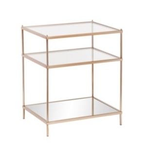 Southern Enterprises Knox Glass Side Table in Metallic Gold