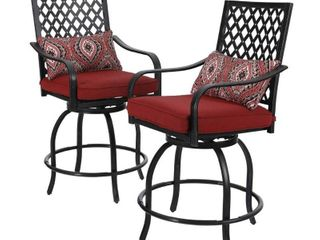 Teluk Extra Wide Swivel Bar Stools  Set of 2  by Havenside Home