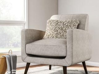 Carson Carrington Keflavik Mid century Dove Grey linen Arm Chair