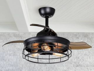 Uncle Parrot Industrial 36 inch Black 3 Blade Ceiling Fan with light Kit   36