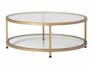 Carbon loft Heimlich Pewter Steel  Glass Round Coffee Table