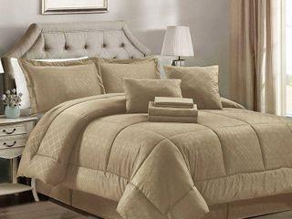 10 piece Solid Plaid Comforter Set   Twin