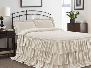 HIG 3 Piece Ruffle Skirt Bedspread Set Queen Ivory Color 30 inches Drop Ruffled Style Bed Skirt Coverlets Bedspreads Dust Ruffles  ECHO Bedding Collections  1 Bedspread  2 Standard Shams
