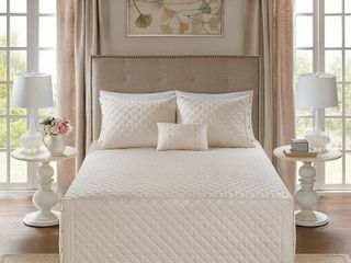 Madison Park levine Ivory Cotton Percale Tailored 4 piece Bedspread Set   Cali King