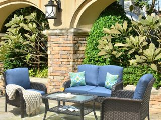 Ketchikan 4 piece patio Conversation Set  See Photos some parts may be missing