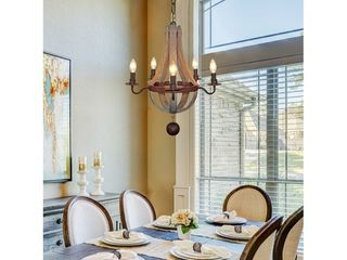 5 light Farmhouse Wood Chandelier for Dining Room