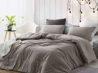 Rustic Bronze Stripe Oversized Comforter   Queen   100  Yarn Dyed Cotton by BYourBed