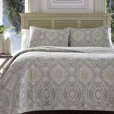 Tommy Bahama Turtle Cove Pelican Medallion Grey Quilt Set   Full Queen