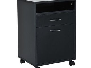 HomCom 24  Rolling End Table Mobile Printer Cart Nightstand Organizer   Black