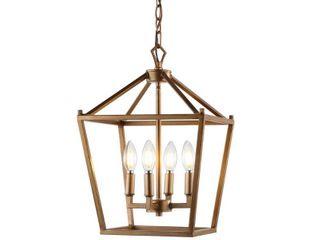 Pagoda 12  4 Bulb lantern Metal lED Pendant  Antique Gold by JONATHAN Y