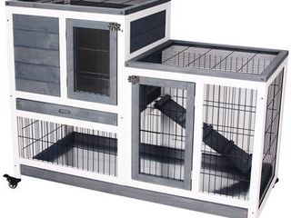 PawHut Wooden Indoor Rabbit Hutch Elevated Cage Habitat with Enclosed Run with Wheels
