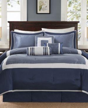 Abigail Navy Solid Pieced 7 Piece Comforter Set   Queen